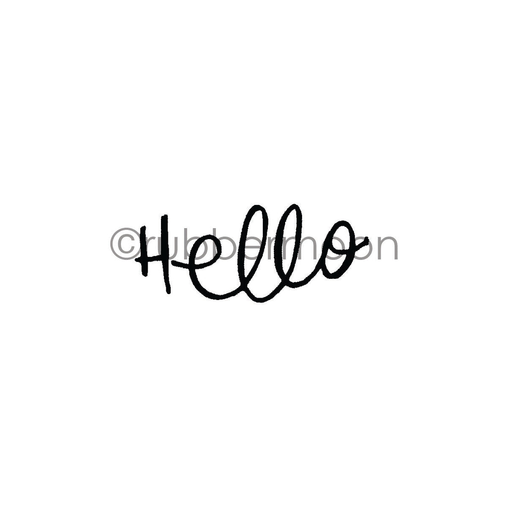 "Kae Pea | KP7274E - Simple ""Hello"" - Rubber Art Stamp"