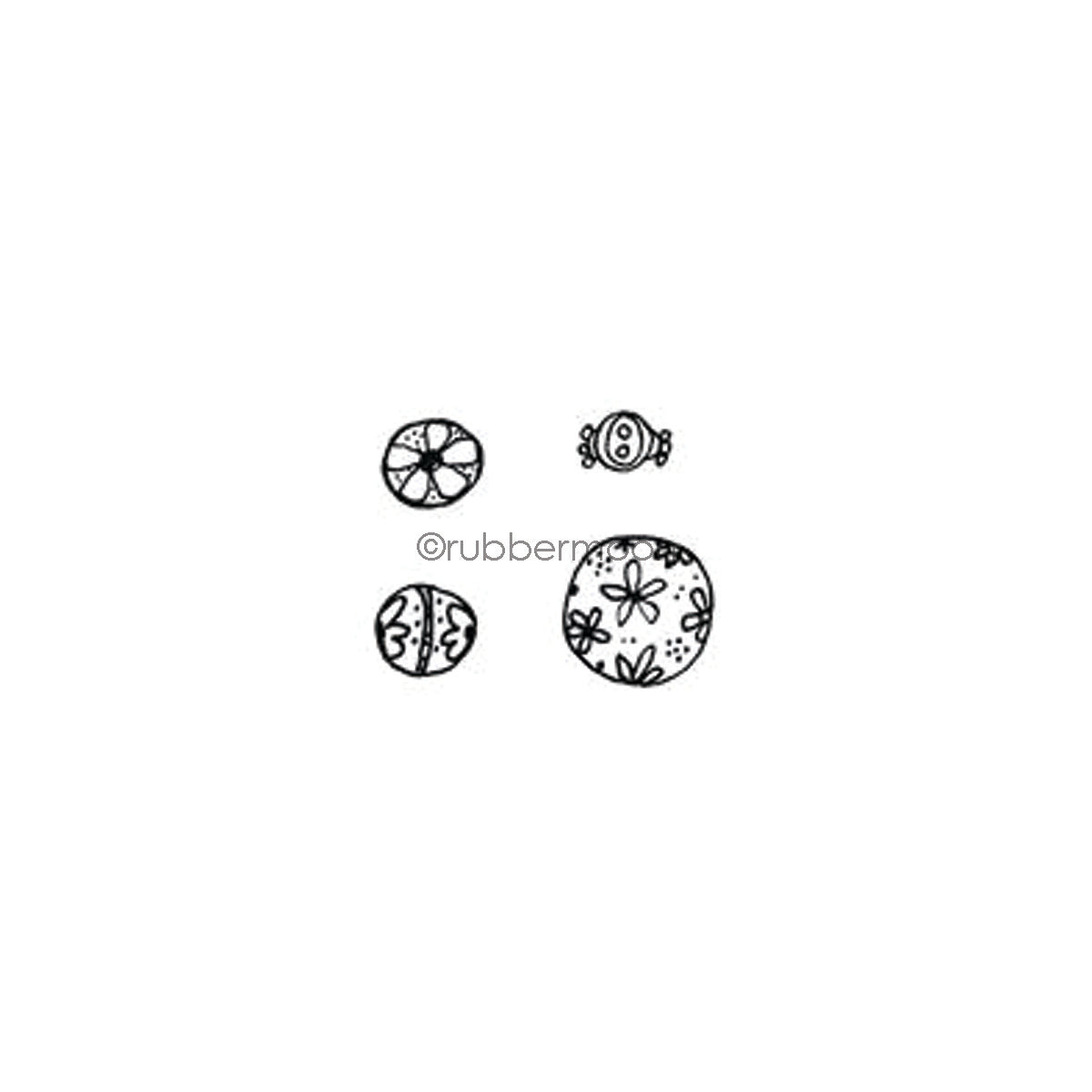 Kae Pea | KP7342G - Flower Beads Cube - Rubber Art Stamp