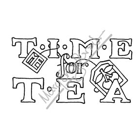"Mary Engelbreit | ME7700G - ""Time for Tea"" - Rubber Art Stamp"