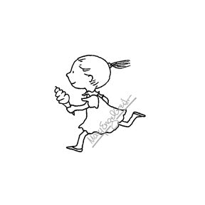 Mary Engelbreit | ME7714E - Running with Ice Cream - Rubber Art Stamp