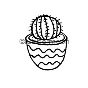 Maxi Moon | MM7090D - Cutesy Cactus - Rubber Art Stamp