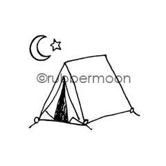 Maxi Moon | MM7093G - Camp Moonlight (w/ Moon & Star End-Mount) - Rubber Art Stamp