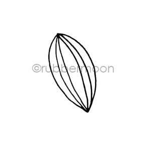Maxi Moon | MM7173B - Stripey Leaf - Rubber Art Stamp