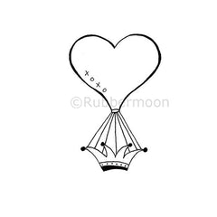 Nancy Curry | NC5279E - Hot Air Heart - Rubber Art Stamp