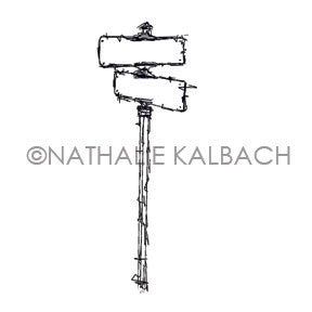 Nathalie Kalbach | NK7059E - Street Sign - Rubber Art Stamp