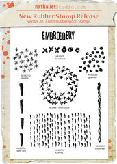 Nathalie Kalbach | Mixed Media Embroidery Set | Rubber Art Stamps (Set of 7)