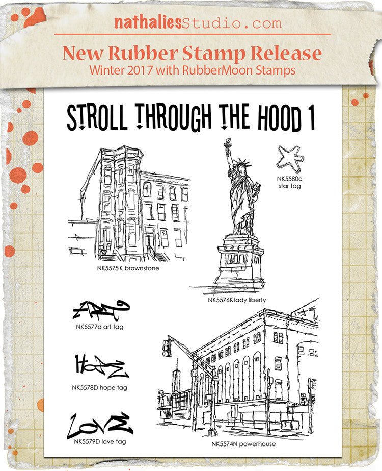 Nathalie Kalbach | Stroll Through the Hood Set 1 | Rubber Art Stamps (Set of 7)