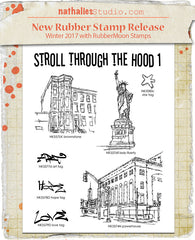 Nathalie Kalbach | NK1003S - Stroll Through the Hood Set 1 (7 Stamps) - Rubber Art Stamps