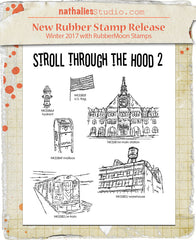 Nathalie Kalbach | NK1004S - Stroll Through the Hood Set 2 (6 Stamps) - Rubber Art Stamps