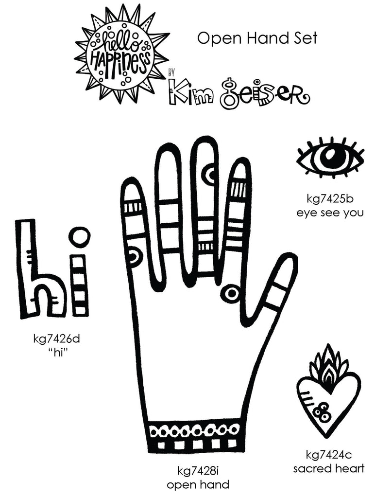 Kim Geiser | KGOH04 - Open Hand Set - Rubber Art Stamps