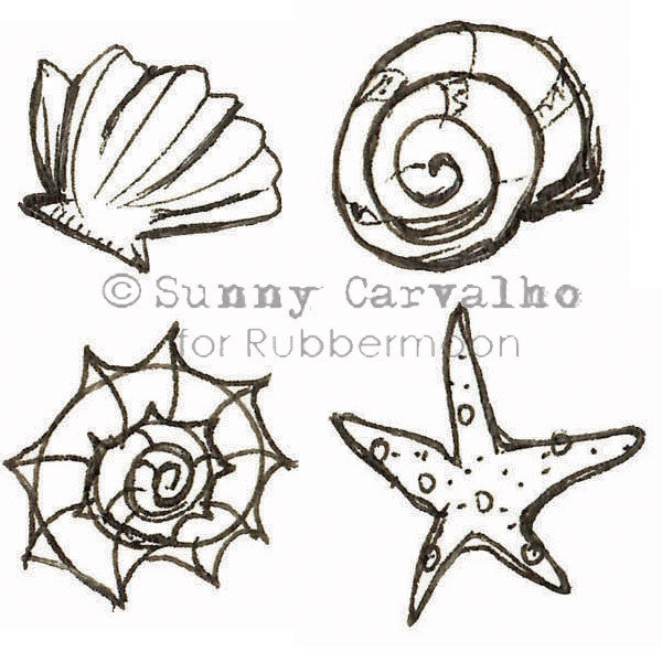 By the Seashore - Cube - SC5234K - Rubber Art Stamp