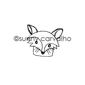 Foxy Face - SC5397F - Rubber Art Stamp