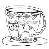 Sunny Carvalho | SC7042G - Cat Cup - Rubber Art Stamp