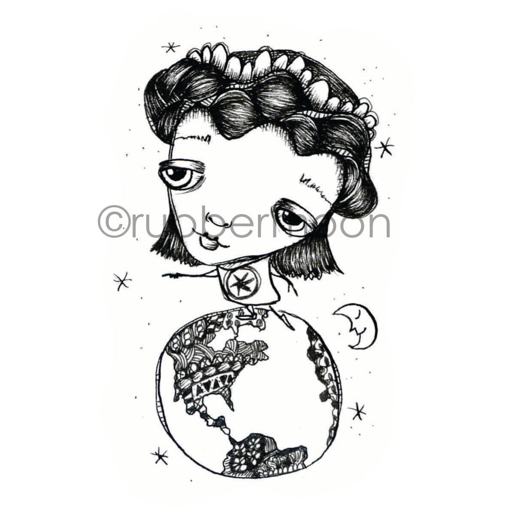 Sunny Carvalho | SC7224I - Earth-day Girl - Rubber Art Stamp