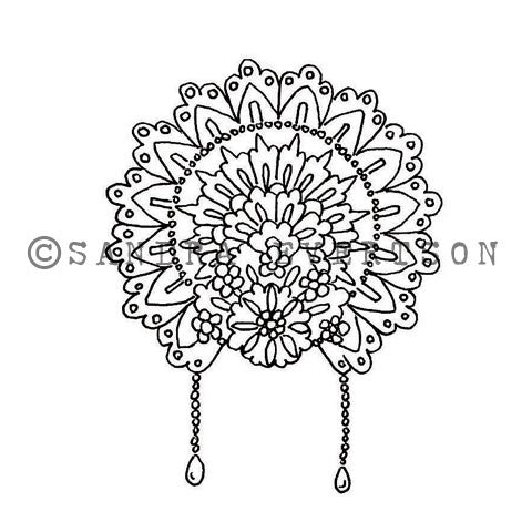 Sandra Evertson | SE6008G - Fiesta Crown - Rubber Art Stamp