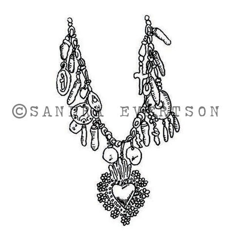 Sandra Evertson | SE6016E - Milagros Charms - Rubber Art Stamp