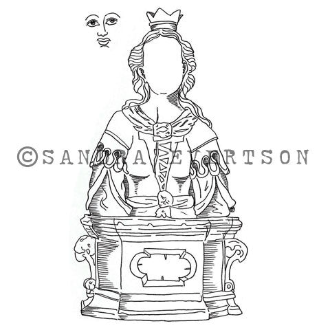 Sandra Evertson | SE6018M - St. Cecilia (Set w/ Face) - Rubber Art Stamp