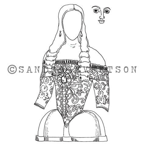 Sandra Evertson | SE6019M - Esperanza (Set w/ Face) - Rubber Art Stamp