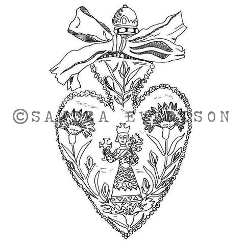 Sandra Evertson | SE6020J - Scapular - Rubber Art Stamp
