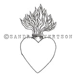 Sandra Evertson | SE6030G - Burning Heart - Rubber Art Stamp