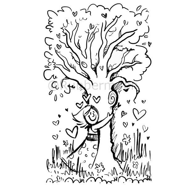Wendy Fedan | WF1J - Tree Hugger - Rubber Art Stamp