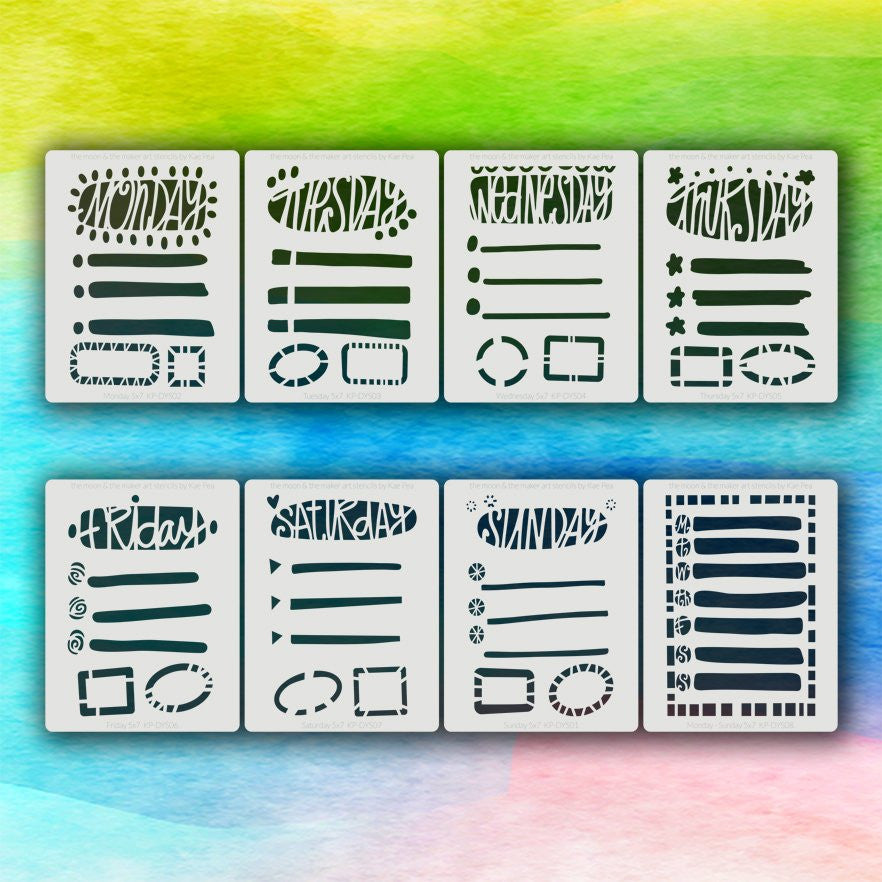 Kae Pea | Days of the Week Planner Pack of Stencils