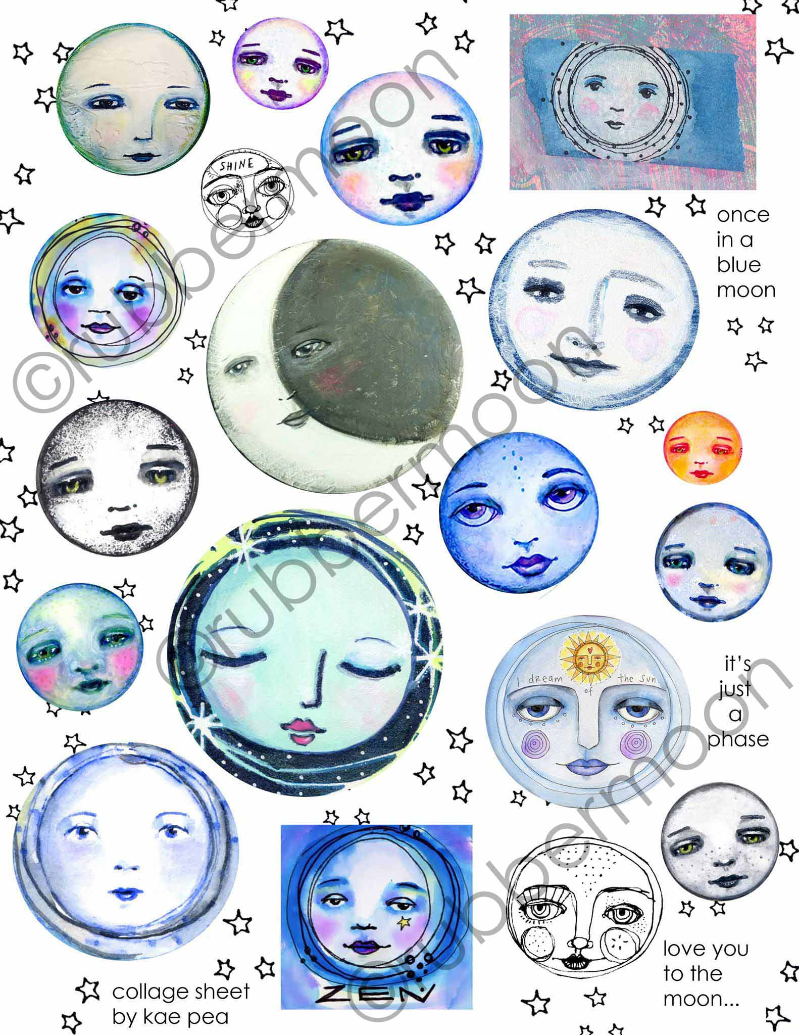 Many Moons Collage Sheet from Kae Pea | Digital or Physical