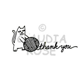 Thank You Kitty Rubber Art Stamp