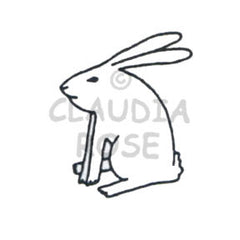 Sitting Rabbit Rubber Art Stamp