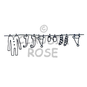 Claudia Rose | CR957F - Christmas Clothesline - Rubber Art Stamp