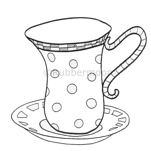 Dave Brethauer | DB2116J - Polka Dot Teacup - Rubber Art Stamp
