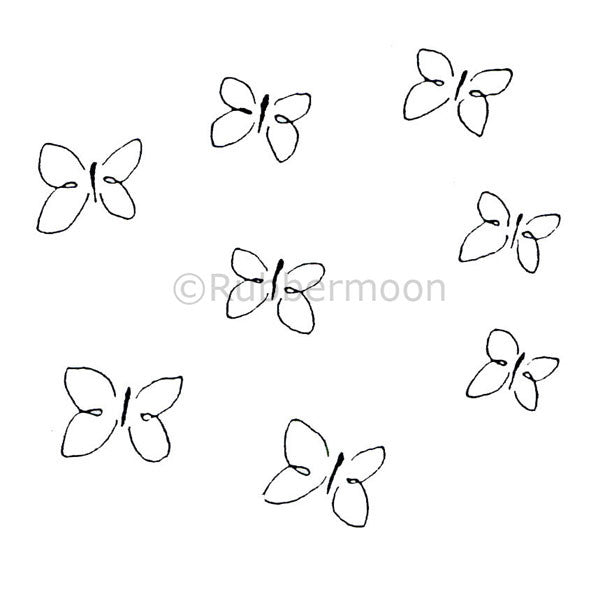 Many Butterflies - DB2252H - Rubber Art Stamp