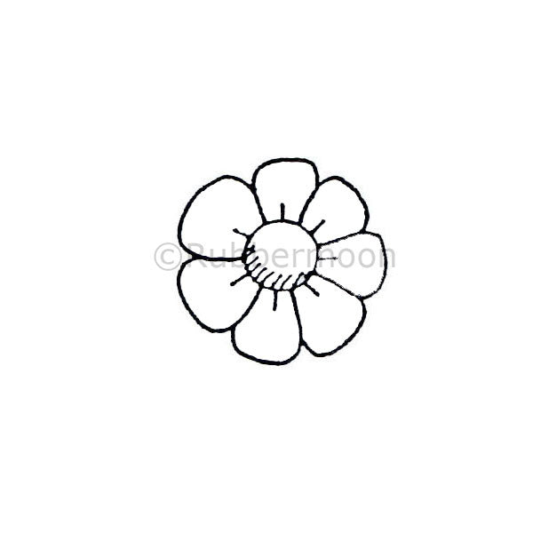 Dave Brethauer | DB2341B - 7-Petal Flower - Rubber Art Stamp