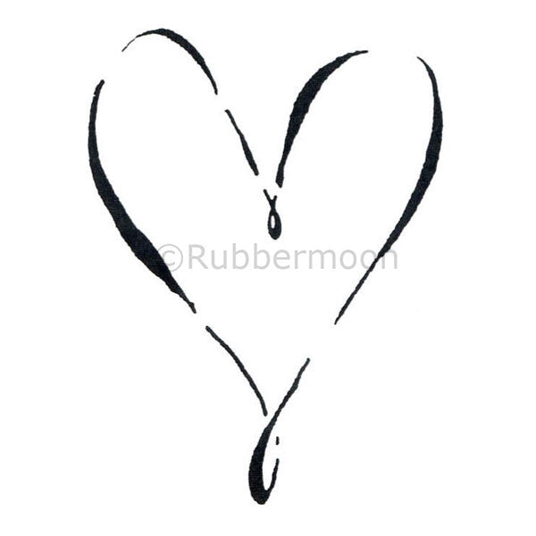 Calligraphic Heart - DB2355G - Rubber Art Stamp
