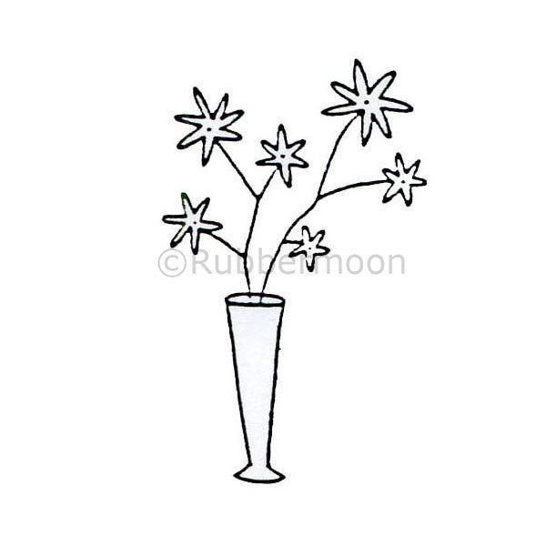 6 Flowers in a Vase - DB2411D - Rubber Art Stamp