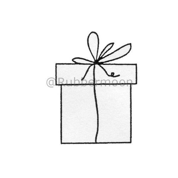 Plain Gift Box - DB2427D  - Rubber Art Stamp