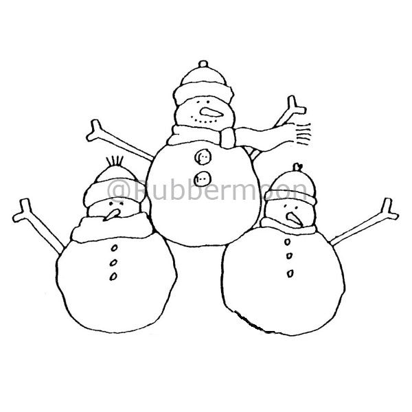 3 Happy Snowmen - DB2558I - Rubber Art Stamp