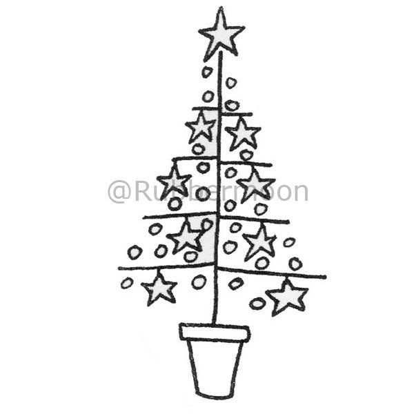 Charlie Brown Tree - DB2668H - Rubber Art Stamp