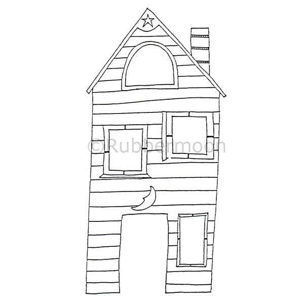 Moon Unit House - DB4040M - Rubber Art Stamp