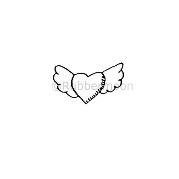 Heart Fly - DB4117B - Rubber Art Stamp