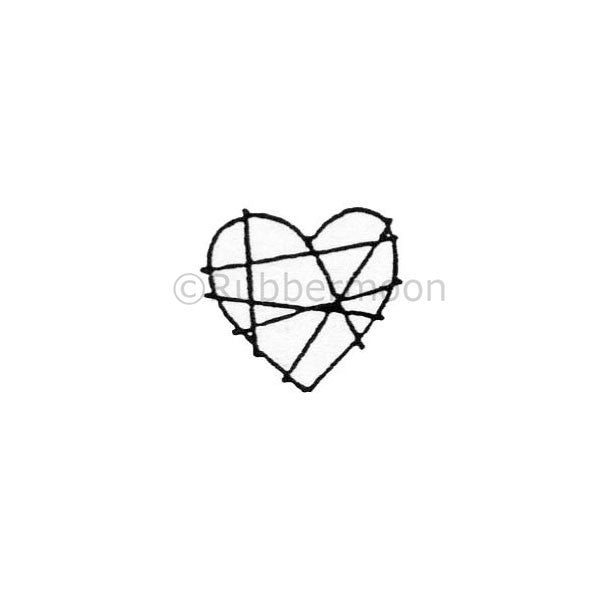 Wrapped Up Heart - DB4253B - Rubber Art Stamp