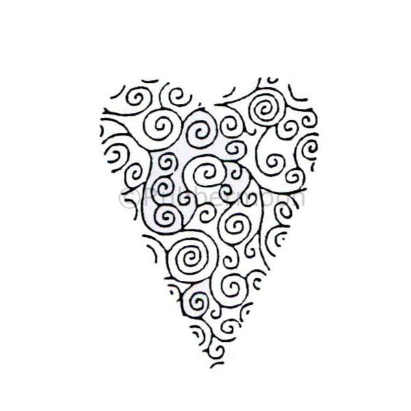 Dave Brethauer | DB4458D - Doodle Heart - Rubber Art Stamp