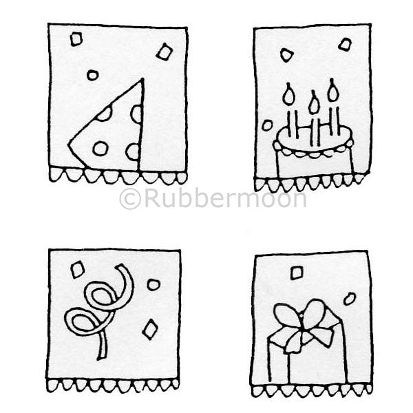 Party Cube - DB9193H - Rubber Art Stamp