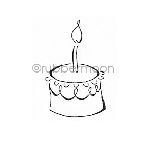 Dave Brethauer | DB9181D - Cake w/ Candle - Rubber Art Stamp