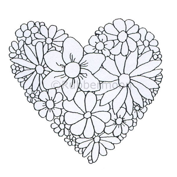 Dave Brethauer | DB2359I - Daisy Heart - Rubber Art Stamp