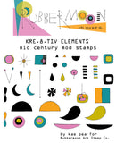 Kae Pea | Kre8Tiv Elements Stamp Set | Rubber Art Stamps (Set of 29)