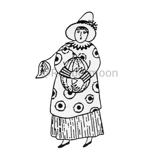 Jane Cather | JC331D - Pumpkin Lady (small) - Rubber Art Stamp