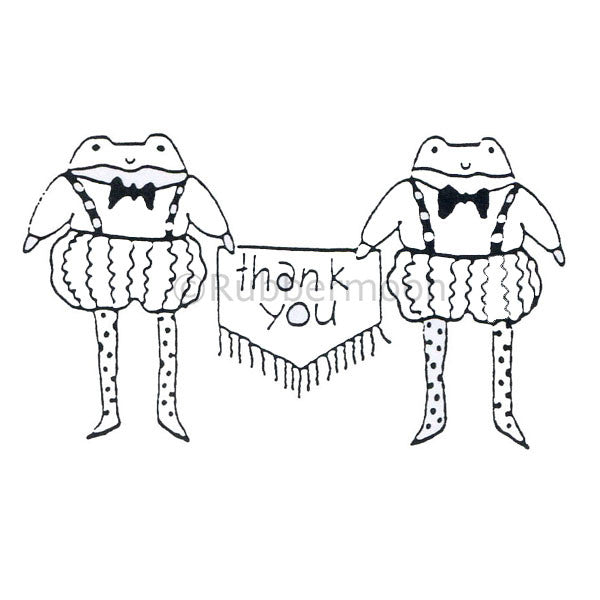 Jane Cather | JC439F - A Froggy Thank You - Rubber Art Stamp