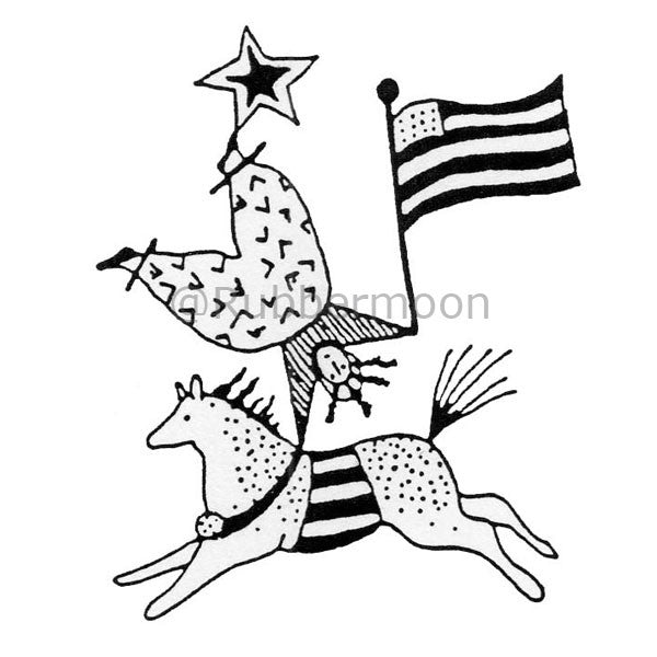 Jane Cather | JC443E - Patriotic Rider - Rubber Art Stamp