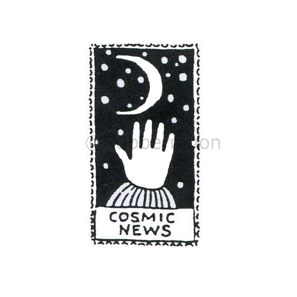 Jane Cather | JC455C - Cosmic News (small) - Rubber Art Stamp